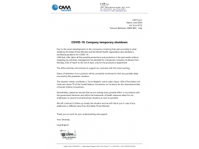 COVID-19: Company temporary shutdown