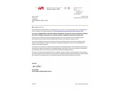 Extended API 6D certification